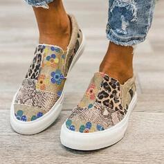 Femmes Treillis Talon plat Chaussures plates Low Top bout rond Espadrille avec La copie Animale Patchwork Couleur d'épissure chaussures