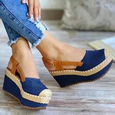 Femmes Tissu Talon compensé Sandales Compensée À bout ouvert Talons bout rond avec Boucle Couleur unie chaussures