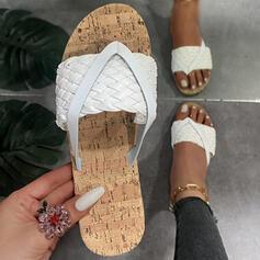 Femmes PU Talon plat Sandales Chaussures plates À bout ouvert Tongs Chaussons avec Lanière tressé Couleur unie chaussures