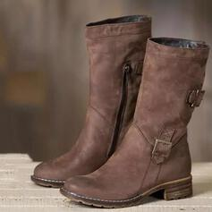 Femmes Similicuir Talon bas Bottes mi-mollets bout rond avec Boucle Zip Couleur unie chaussures