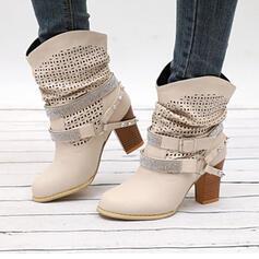 Femmes PU Talon bottier Escarpins Bottes mi-mollets Bout pointu avec Strass Rivet Boucle chaussures
