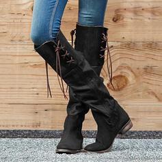 Femmes PU Talon bottier Bottes hautes bout rond avec Zip Tassel chaussures