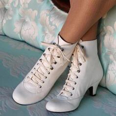 Femmes PU Talon bobine Bottines avec Dentelle chaussures