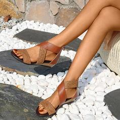 Femmes Similicuir Talon plat Sandales Chaussures plates À bout ouvert avec Semelle chaussures