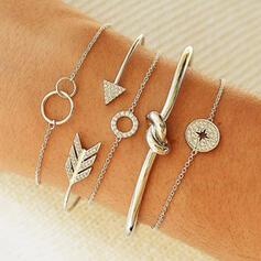 Classic Layered Alloy Rhinestones Women's Bracelets 5 PCS