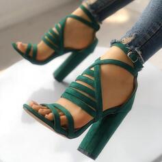 Femmes Suède Sandales Escarpins À bout ouvert Talons avec Boucle chaussures