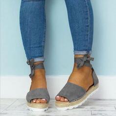 PU Talon plat Sandales Chaussures plates À bout ouvert avec Dentelle chaussures