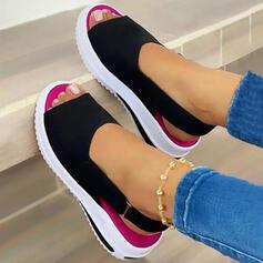 Women's Suede Wedge Heel Sandals Platform Wedges Peep Toe Slingbacks With Velcro Letter Colorblock shoes