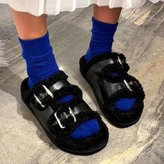 Women's Leather Fake fur Flat Heel Peep Toe shoes
