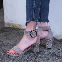 Femmes Suède Talon bottier Sandales Escarpins À bout ouvert avec Rivet Ouvertes Couleur unie chaussures