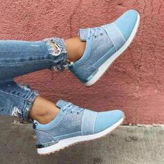 Femmes Tissu Mesh Talon plat Chaussures plates bout rond Tennis avec Dentelle chaussures