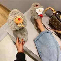 Women's Cloth Flat Heel Sandals Flats Peep Toe Slippers With Faux-Fur shoes