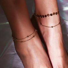 À la mode Style Classique Simple Plaqué or avec Plaqué or Femmes Dames Bracelets de cheville 2 PCS