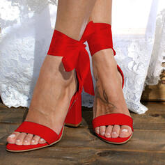 Women's PU Chunky Heel Sandals Pumps With Bowknot Lace-up Solid Color shoes