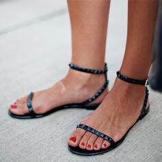 Femmes PVC Talon plat Sandales Chaussures plates À bout ouvert avec Boucle Couleur unie chaussures