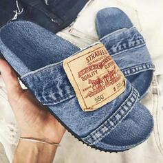 Femmes Treillis Talon plat Sandales Chaussures plates À bout ouvert Chaussons avec Couleur d'épissure chaussures