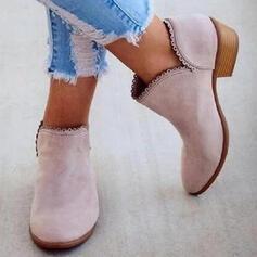 Femmes PU Talon bas Bottines Low Top Bout pointu avec Couleur unie chaussures