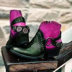 Femmes PU Talon bas Bottines Bottes cavalières bout rond avec Rivet Dentelle Couleur d'épissure chaussures
