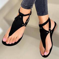 Femmes PU Talon plat Sandales Chaussures plates À bout ouvert Tongs avec Rivet Ouvertes chaussures