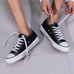 Femmes Tissu Talon plat Chaussures plates Low Top bout rond Espadrille avec Dentelle chaussures