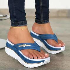 Women's PU Wedge Heel Sandals Flip-Flops Slippers With Colorblock shoes