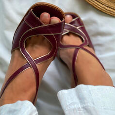 Femmes PU Talon bottier Sandales Escarpins À bout ouvert Bout carré Talons avec Ouvertes Couleur d'épissure chaussures