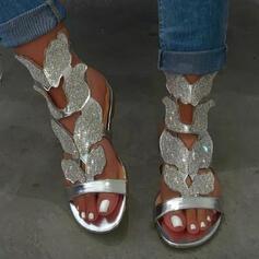 Femmes PU Talon plat Sandales Chaussures plates À bout ouvert avec Strass Ouvertes Couleur unie chaussures
