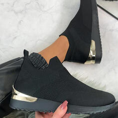 Femmes Flying Weave Talon plat Chaussures plates Tennis avec Ouvertes chaussures