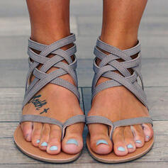 Femmes PU Talon plat Sandales Chaussures plates À bout ouvert Tongs avec Élastique chaussures