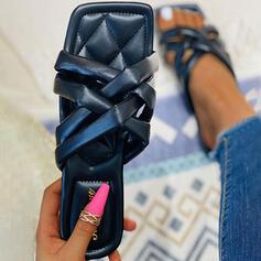 Femmes PU Talon plat Sandales Chaussures plates À bout ouvert Chaussons avec Couleur unie Entrecroisement chaussures