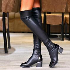Femmes PU Talon bottier Cuissardes bout rond avec Plissé Couleur unie chaussures
