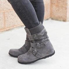 Femmes Suède Talon plat Bottes mi-mollets Bottes neige bout rond avec Boucle Zip Couleur unie chaussures