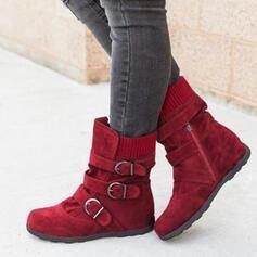 Femmes PU Talon plat Bottes Bottines Bottes neige Bottes d'hiver avec Boucle chaussures