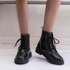 Femmes Similicuir Talon plat Martin bottes bout rond avec Dentelle chaussures