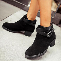 Women's PU Chunky Heel Ankle Boots Low Top Round Toe With Buckle Solid Color shoes