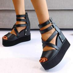 Femmes PU Talon compensé Sandales Compensée À bout ouvert Talons bout rond avec Boucle Couleur unie Entrecroisement chaussures