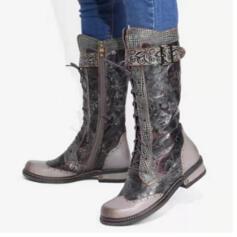 Femmes PU Talon bottier Bottes Bottes mi-mollets bout rond avec Boucle Dentelle Couleur d'épissure chaussures