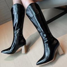 Femmes PU Talon bottier Bottes Bottes mi-mollets Bout pointu avec Zip Couleur unie chaussures