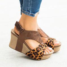 Femmes PU Talon compensé Sandales Plateforme Compensée À bout ouvert avec Boucle La copie Animale Couleur d'épissure chaussures