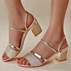 Femmes PU Talon bottier Sandales Escarpins À bout ouvert Talons avec Paillette Ouvertes chaussures