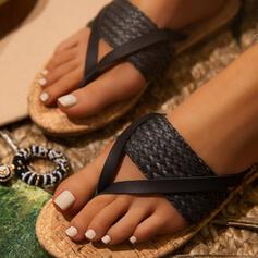 Femmes PU Talon plat Sandales Chaussures plates À bout ouvert Tongs Chaussons bout rond avec Lanière tressé Semelle chaussures