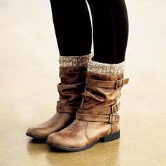 Femmes PU Talon plat Bottes Bottes mi-mollets Bottes d'hiver avec Boucle chaussures