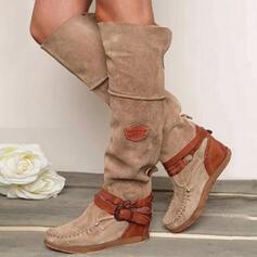 Femmes PU Talon plat Bottes bout rond avec Boucle chaussures