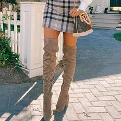 Femmes Suède Talon bottier Cuissardes bout rond avec Plissé Couleur unie chaussures