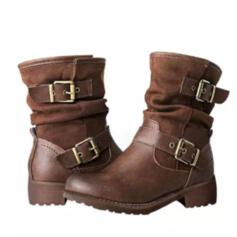 Women's Suede Flat Heel Boots Ankle Boots With Buckle shoes
