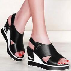 Femmes PU Talon compensé Sandales Plateforme Compensée À bout ouvert avec Boucle Ouvertes chaussures