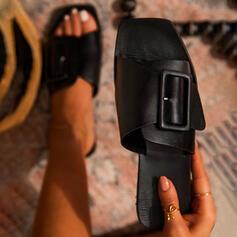 Femmes PU Talon plat Sandales Chaussures plates À bout ouvert Chaussons avec Boucle Couleur unie chaussures