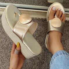 Femmes PU Talon plat Sandales Plateforme À bout ouvert Chaussons avec Couleur unie chaussures