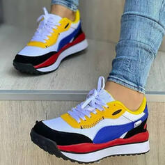 Femmes Mesh PU Talon plat Chaussures plates bout rond Tennis avec Dentelle Couleur d'épissure chaussures