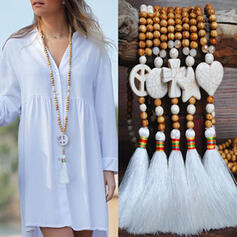 Beau À la mode Exotique Cristal Perles en bois avec Glands Colliers
